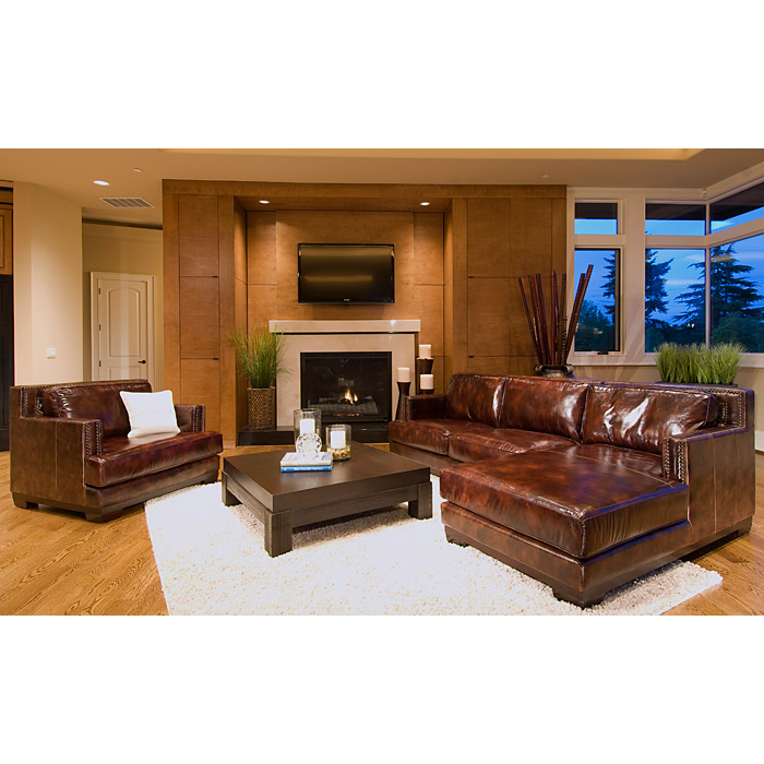 Davis Leather Chair and Sectional Set with Right Facing Chaise - ELE-DAV-2PC-LAFL-RAFC-SC-SADD-1