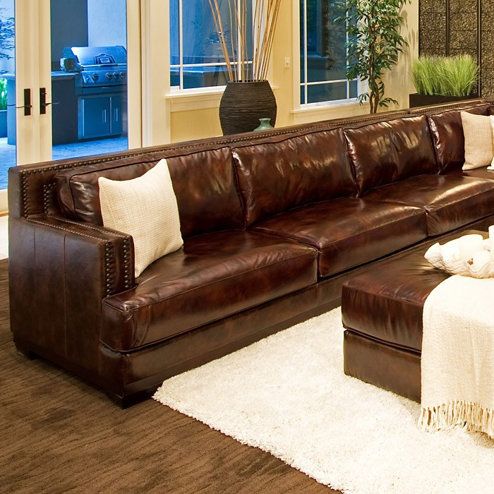 Easton Leather Sectional with Ottoman - Left Arm Sofa