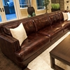 Easton Saddle Brown Leather Sectional with Left Arm Sofa
