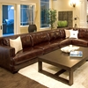 Easton Leather Sectional and Chair Set - Left Arm Sofa