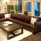 Easton Leather Sectional and Chair Set - Right Arm Sofa