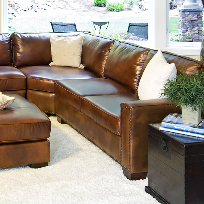 Carlyle Rustic Brown Leather Sectional and Ottoman Set