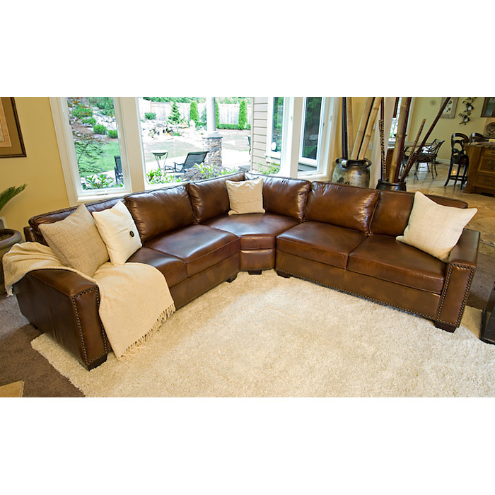 Carlyle Rustic Brown Leather Sectional Sofa - ELE-CAR-SEC-LAFL-RAFL-CS-RUST-1