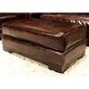 Emerson Top Grain Leather Ottoman in Saddle Brown