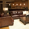 Emerson Top Grain Leather Sofa and Chairs Set in Saddle Brown