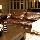 Laguna Saddle Brown Leather Sofa