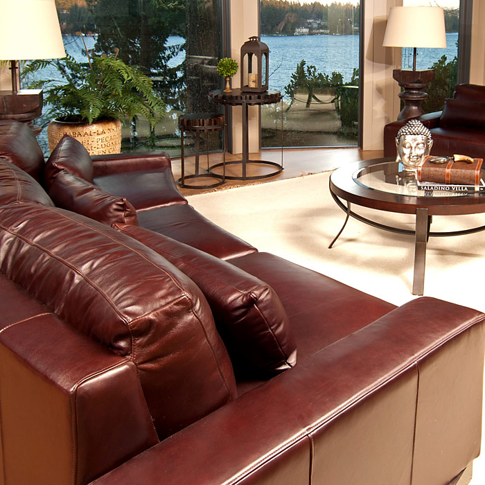 Loft Top Grain Leather 2 Curved Sectionals in Sable