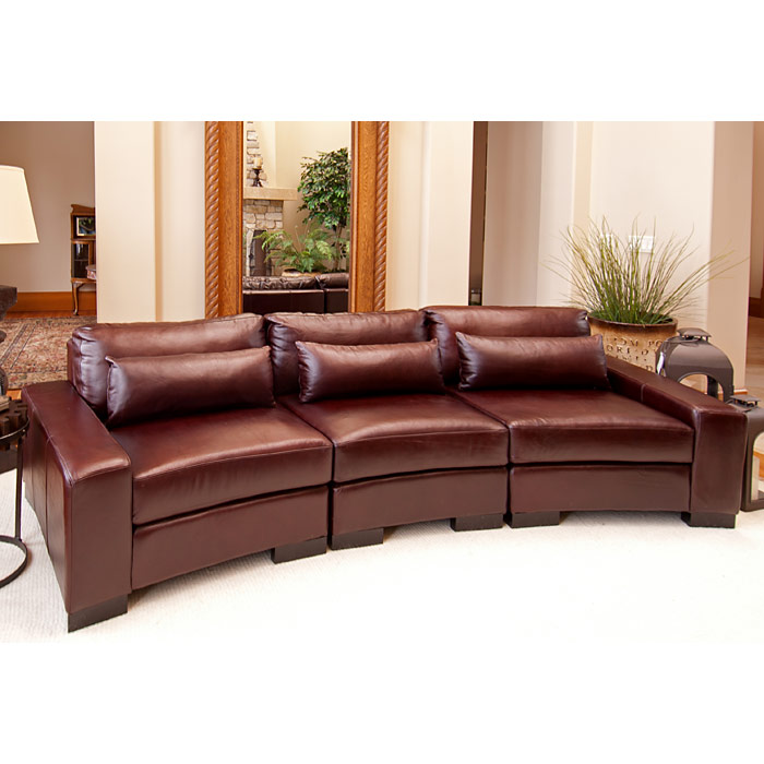 Loft Top Grain Leather Curved Sectional in Sable - ELE-LOF-SEC-LAFCHR-RAFCHR-AC-SABL-1