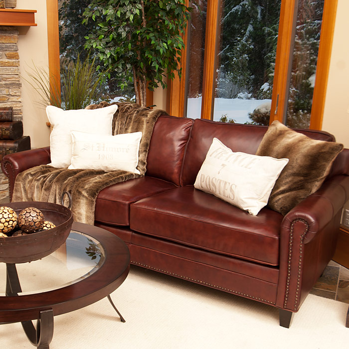 Manchester Barolo Leather Roll Arm Sofa and Chairs