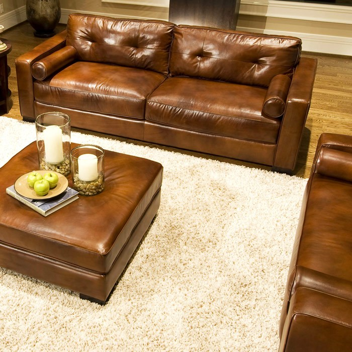 Soho 4 Piece Rustic Brown Leather Sofa Set w/ Oversized Chairs