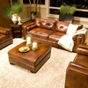 Soho Rustic Brown Sofa and Chair Set with Ottoman