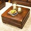 Soho Top Grain Leather Cocktail Ottoman in Rustic Brown