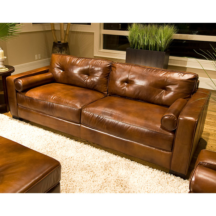 Soho Top Grain Leather Sofa in Rustic Brown - ELE-SOH-S-RUST-1