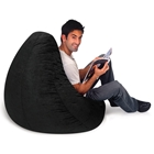 Plush Pear Shape Bean Bag Chair - Black
