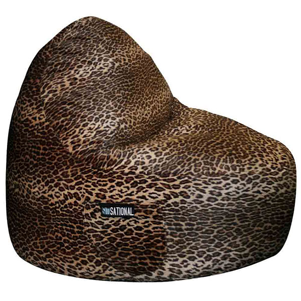 Sitsational 2-Seater Bean Bag Chair - Leopard Print, Velvet - EL-32-6502-565