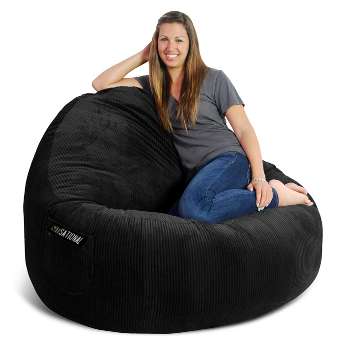 Sitsational 2-Seater Bean Bag Chair - Zebra Print, Velvet - EL-32-6502-595