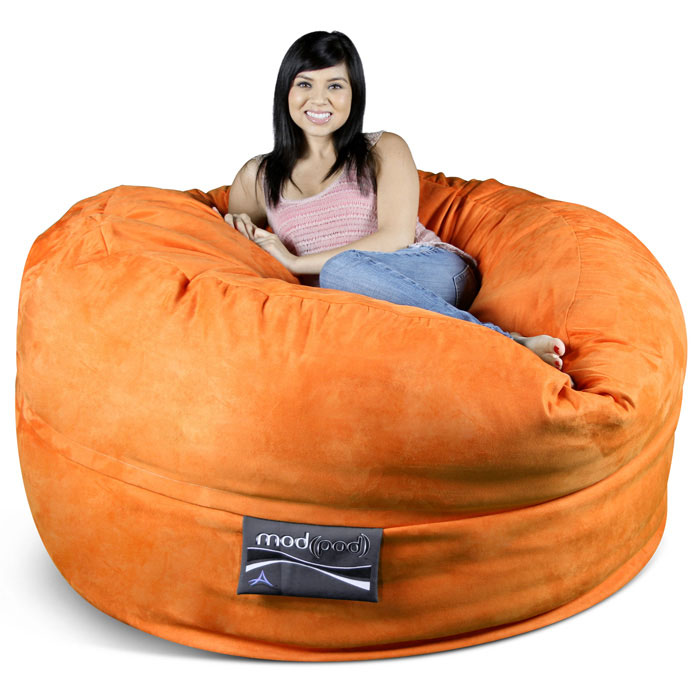 Mod Pod 50 Inch Suede Bean Bag - Pumpkin Orange