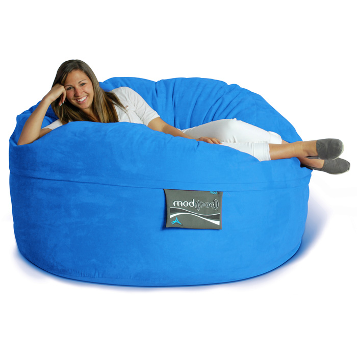 Mod Pod 50 Inch Suede Bean Bag - Blue