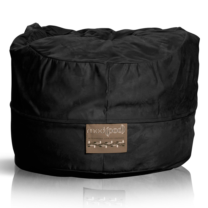 Mod Pod Black Faux Suede 52 inch Bean Bag