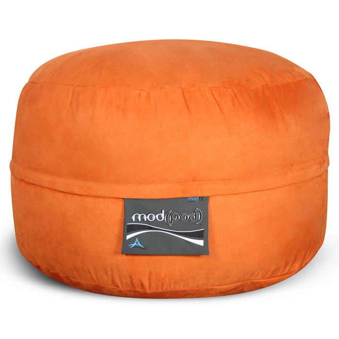 Mod Pod Bean Bag for Kids - Pumpkin Orange Suede
