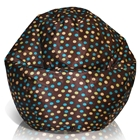 Classic Kids Bean Bag in Brown with Turquoise and Yellow Dots