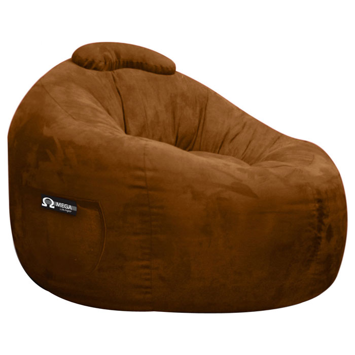 Omega Chocolate Faux Suede Lounger Bean Bag - EL-32-7501-165