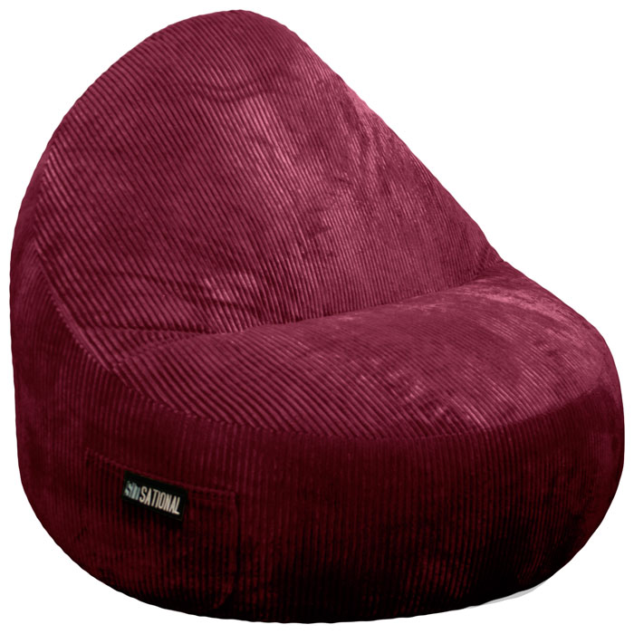 Sitsational Extra Large Berry Corduroy Foam Bean Bag Chair