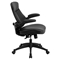 Leather Executive Swivel Office Chair - Mid Back, Adjustable, Black - FLSH-BL-ZP-804-GG