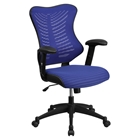 Mesh Executive Swivel Office Chair - High Back, Adjustable, Blue