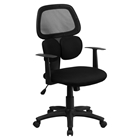 Mid Back Mesh Swivel Task Chair - Flexible Dual Lumbar Support, Black
