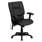 Leather Executive Swivel Office Chair - Mid Back, Massaging, Black