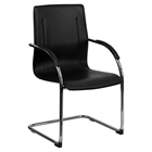 Faux Leather Chair - Chrome Sled Base, Black