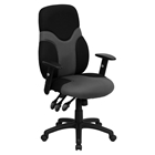 Mesh Swivel Task Chair - High Back, Adjustable, Black and Gray