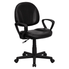 Leather Swivel Task Chair - Mid Back, Arms, Black