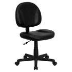 Leather Swivel Task Chair - Mid Back, Black