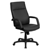 Leather Executive Adjustable Swivel Office Chair - High Back, Black