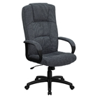 Fabric Executive Swivel Office Chair - High Back, Gray