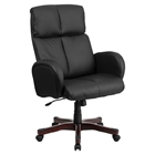 Leather Executive Swivel Office Chair - High Back, Armrest, Black