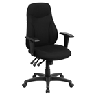 Swivel Task Chair - Multi Functional, High Back, Black