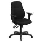 Fabric Swivel Arms Task Chair - Mid Back, Multi Functional, Black