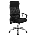 Leather and Mesh Swivel Task Chair - High Back, Adjustable, Black