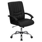 Leather Swivel Chair - Mid Back, Black