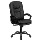 Massaging Leather Executive Swivel Office Chair - High Back, Black