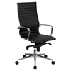 Ribbed Leather Executive Office Chair - High Back, Swivel, Black