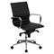 Ribbed Leather Swivel Conference Chair - Mid Back, Black - FLSH-BT-9826M-BK-GG