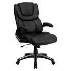 Leather Executive Swivel Office Chair - High Back, Black, Height Adjustable