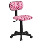 Swivel Task Chair - Dot Printed, Pink