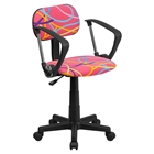 Swivel Task Chair - with Arms, Swirl Printed Pink