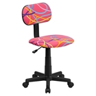 Swivel Task Chair - Swirl Printed Pink