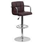 Quilted Faux Leather Barstool - Adjustable Height, with Arms, Brown